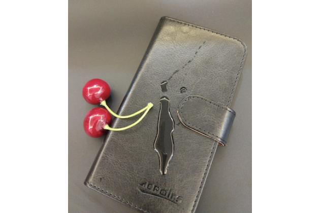 Фирменный чехол-книжка с застёжкой и визитницей для Digma Linx C500 Черный