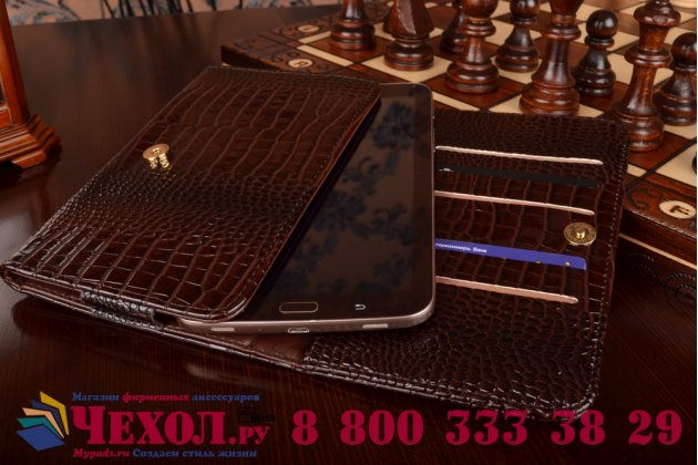 Фирменный роскошный эксклюзивный чехол-клатч/портмоне/сумочка/кошелек из лаковой кожи крокодила для планшета Digma Plane 7006 4G. Только в нашем магазине. Количество ограничено.