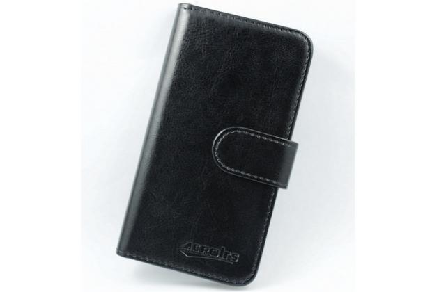 Чехол из качественной импортной кожи с мульти-подставкой застёжкой и визитницей для Digma VOX S501 3G черный