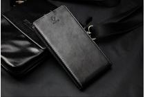 Вертикальный откидной чехол-флип для Digma Vox S502 3G черный из натуральной кожи Prestige Италия