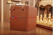 Чехол обложка с подстветкой/лампой для Digma e5 кожаный. Цвет БЕЛЫЙ