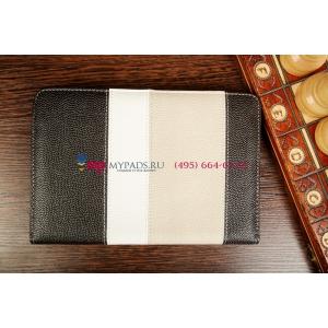 Чехол-обложка для Digma iDsD8 3G черный с серой полосой кожаный