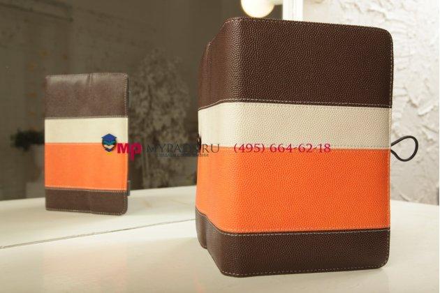 Чехол-обложка для Digma iDsD8 3G коричневый с оранжевой полосой кожаный
