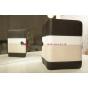 Чехол-обложка для Digma iDxD8 3G черный с серой полосой кожаный..