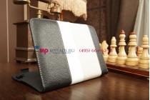 Чехол-обложка для Digma iDxD8 3G черный с серой полосой кожаный