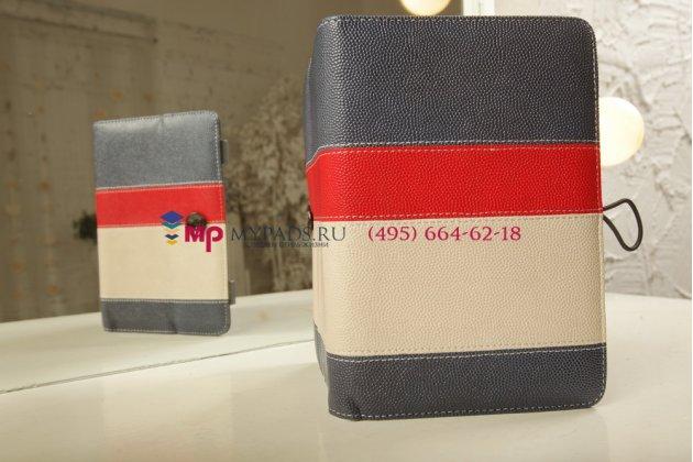 Чехол-обложка для Digma iDxD8 3G синий с красной полосой кожаный