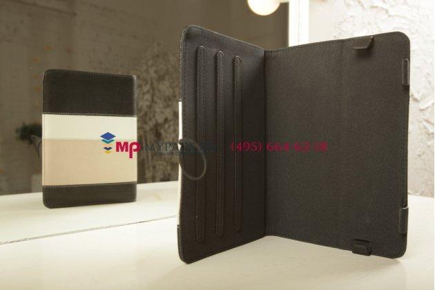 Чехол-обложка для Digma Plane 8 3G черный с серой полосой кожаный