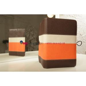 Чехол-обложка для Digma Plane 8 3G коричневый с оранжевой полосой кожаный