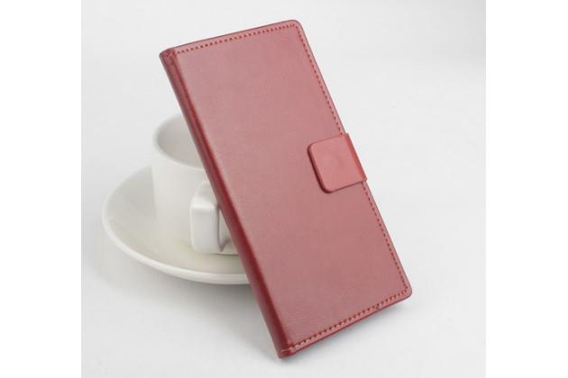 Фирменный чехол-книжка из качественной импортной кожи с мульти-подставкой застёжкой и визитницей для Элефон С2  коричневый