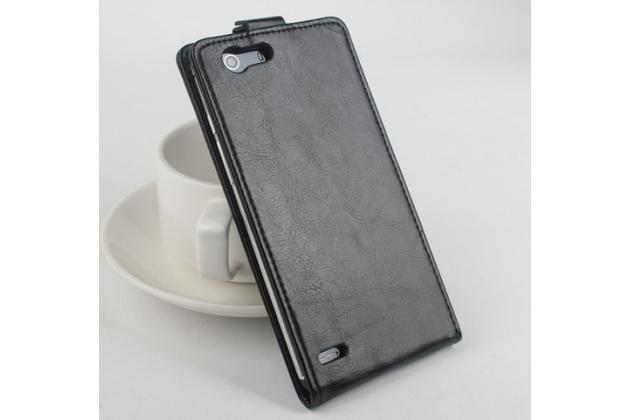 """Фирменный оригинальный вертикальный откидной чехол-флип для Elephone S2 черный из натуральной кожи """"Prestige"""" Италия"""