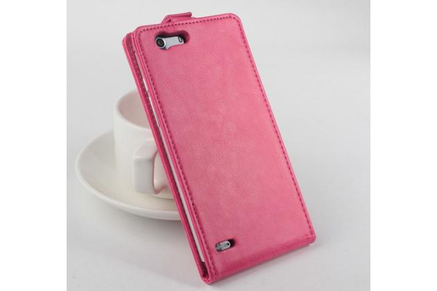 """Фирменный оригинальный вертикальный откидной чехол-флип для Elephone S2 розовый кожаный """"Prestige"""" Италия"""