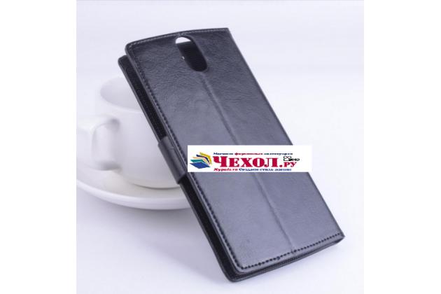 Фирменный чехол-книжка для Elephone ECOO E04 3 Gb с визитницей и мультиподставкой черный кожаный