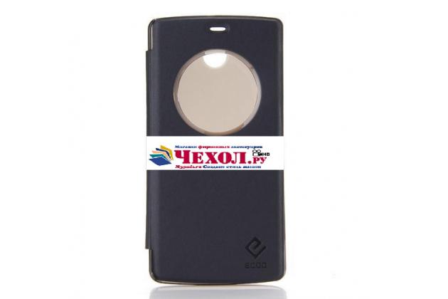 Фирменный оригинальный с логотипом умный чехол-кейс Smart Cover для Elephone ECOO E04 3 Gb с умным окном черный