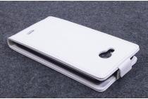 """Фирменный оригинальный вертикальный откидной чехол-флип для Elephone G2 белый кожаный """"Prestige"""" Италия"""