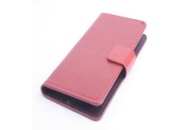 Фирменный чехол-книжка из качественной импортной кожи с мульти-подставкой застёжкой и визитницей для Элефон Джи 2 коричневый