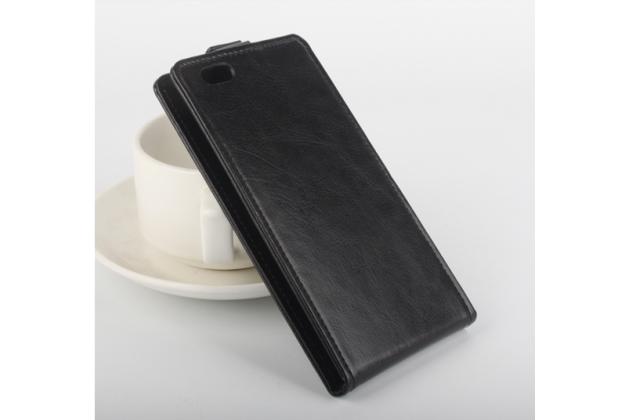 """Фирменный вертикальный откидной чехол-флип для Elephone M2"""" черный"""