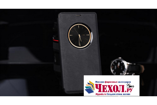 Фирменный оригинальный чехол-книжка для  Elephone M3 черный кожаный с окошком для входящих вызовов