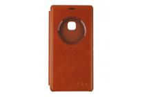 Фирменный оригинальный чехол-книжка для  Elephone M3 коричневый кожаный с окошком для входящих вызовов