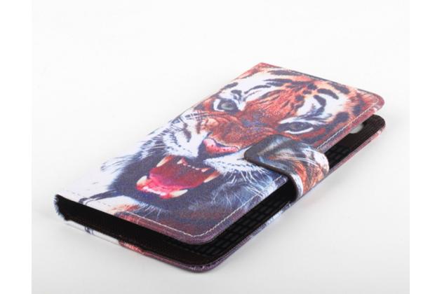 """Фирменный уникальный необычный чехол-подставка с визитницей кармашком на Elephone M3  """"тематика Тигр"""""""