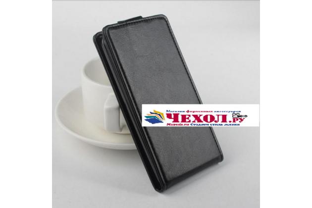 """Фирменный вертикальный откидной чехол-флип для Elephone P4000"""" черный"""