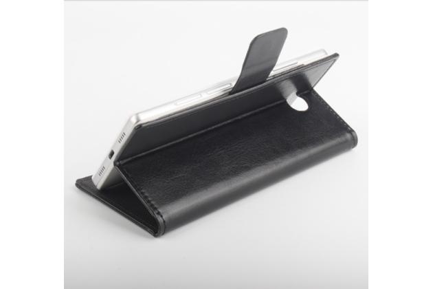 Фирменный чехол-книжка для Elephone P9000 Lite с визитницей и мультиподставкой черный кожаный