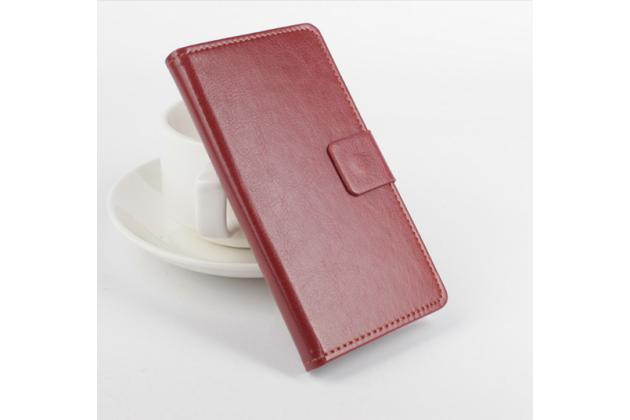 Фирменный чехол-книжка для Elephone P9000 Lite с визитницей и мультиподставкой коричневый кожаный
