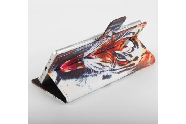 """Фирменный уникальный необычный чехол-подставка с визитницей кармашком на Elephone P9000 Lite  """"тематика Тигр"""""""