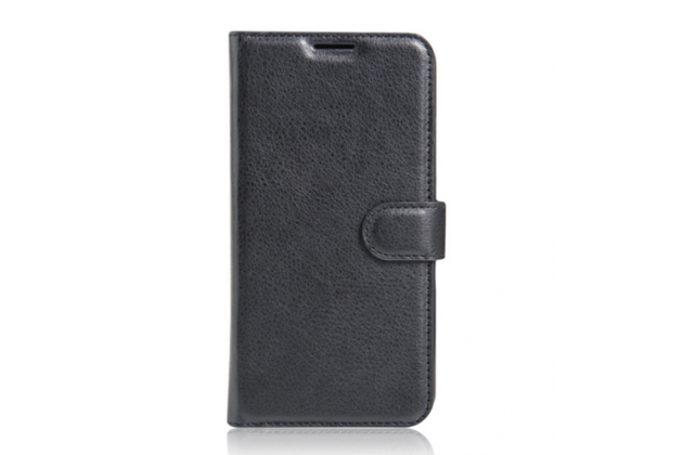Фирменный чехол-книжка для Элефон П9000 про с визитницей и мультиподставкой черный кожаный