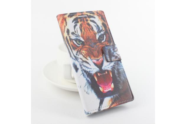 """Фирменный уникальный необычный чехол-подставка с визитницей кармашком на Elephone P9000  """"тематика Тигр"""""""