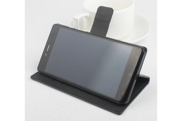 Фирменный чехол-книжка из качественной импортной кожи с мульти-подставкой застёжкой и визитницей для Elephone S2 Plus черный