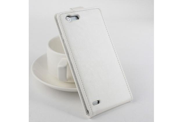 """Фирменный оригинальный вертикальный откидной чехол-флип для Elephone S2 Plus белый кожаный """"Prestige"""" Италия"""