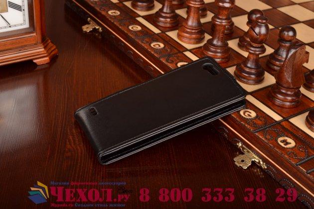 """Фирменный оригинальный вертикальный откидной чехол-флип для Elephone S2 Plus черный из натуральной кожи """"Prestige"""" Италия"""