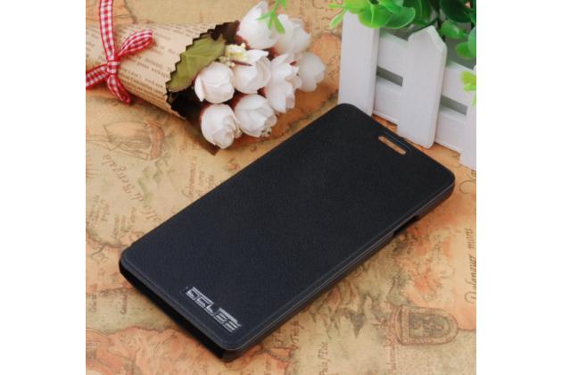 Фирменный чехол-книжка для Elephone P3000s / P3000 с мультиподставкой черный кожаный