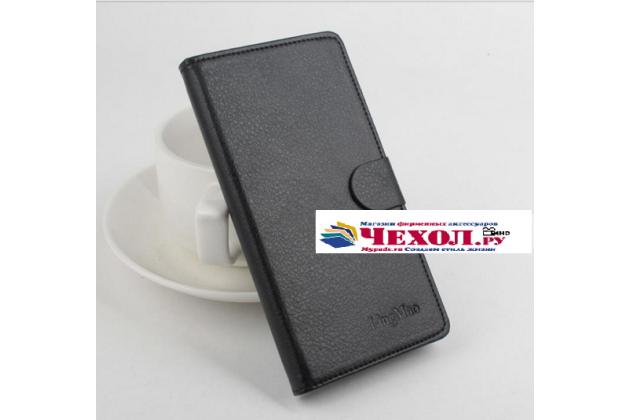 Фирменный чехол-книжка для Элевон П3000с / П3000 с визитницей и мультиподставкой черный кожаный