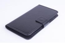 Фирменный чехол-книжка из качественной импортной кожи с подставкой застёжкой и визитницей для Элевон П5000 черный