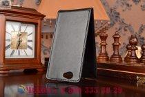 Фирменный оригинальный вертикальный откидной чехол-флип для Elephone P5000 черный кожаный