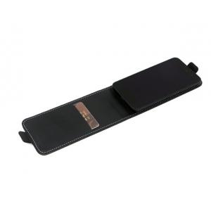 """Фирменный оригинальный вертикальный откидной чехол-флип для Elephone P6000 Pro черный из натуральной кожи """"Prestige"""" Италия"""
