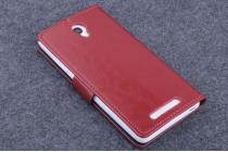 Фирменный чехол-книжка из качественной импортной кожи с мульти-подставкой застёжкой и визитницей для Елефон П6000  коричневый