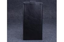 """Фирменный оригинальный вертикальный откидной чехол-флип для Elephone P6000 черный из натуральной кожи """"Prestige"""" Италия"""