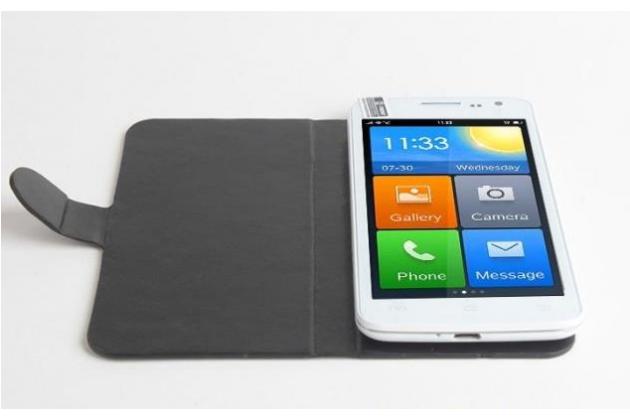 Фирменный чехол-книжка для Elephone G3 с мультиподставкой черный кожаный