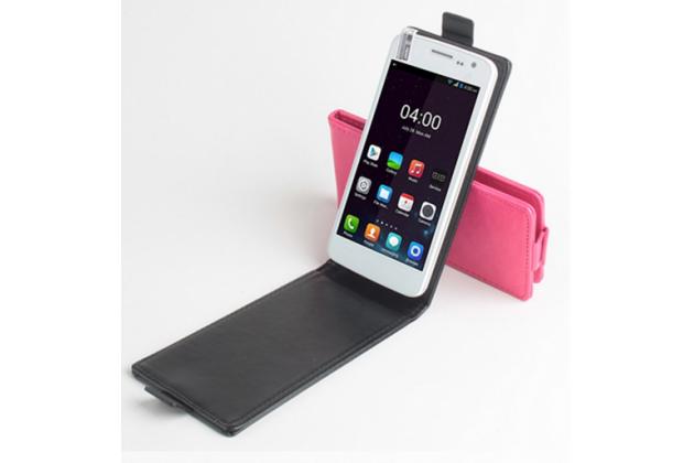 """Фирменный вертикальный откидной чехол-флип для Elephone G3"""" черный"""