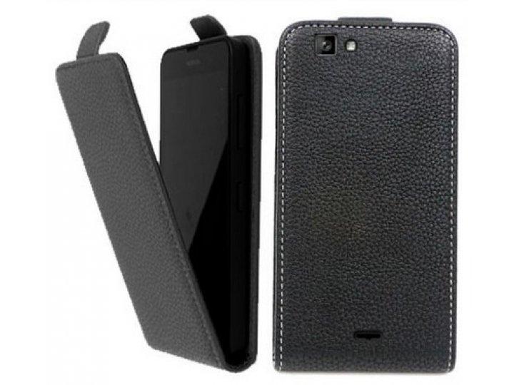 Фирменный оригинальный вертикальный откидной чехол-флип для  Explay Indigo  черный из натуральной кожи