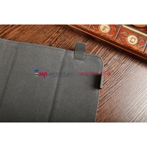 Чехол-обложка для Explay Surfer 8.01 черный с серой полосой кожаный