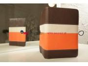 Чехол-обложка для Explay Surfer 8.01 коричневый с оранжевой полосой кожаный..