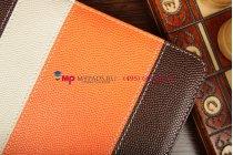 Чехол-обложка для Explay Surfer 8.02 коричневый с оранжевой полосой кожаный