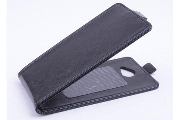 """Фирменный оригинальный вертикальный откидной чехол-флип для Explay A500 черный кожаный """"Prestige"""" Италия"""