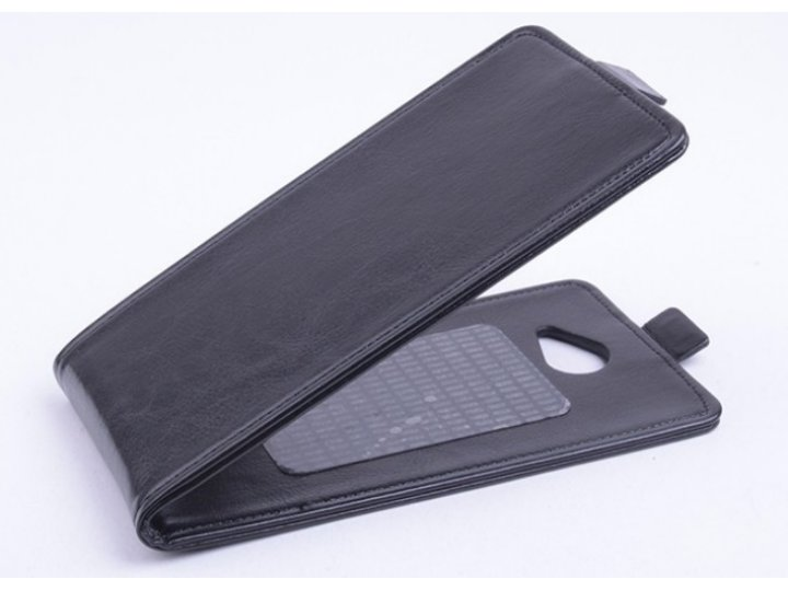 Фирменный оригинальный вертикальный откидной чехол-флип для Explay A500 черный кожаный