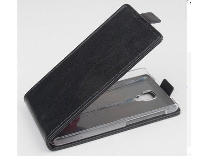 Фирменный оригинальный вертикальный откидной чехол-флип для Explay Flame черный кожаный