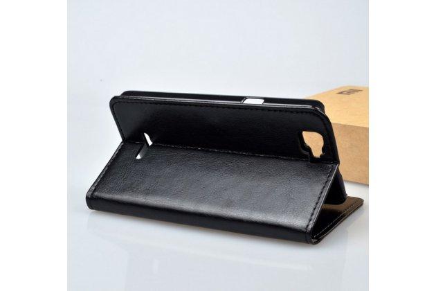 Фирменный чехол-книжка из качественной импортной кожи с мульти-подставкой застёжкой и визитницей для Эксплей Фреш черный