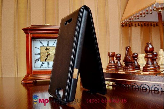 """Фирменный оригинальный вертикальный откидной чехол-флип для Explay Fresh черный натуральная кожа """"Prestige"""" Италия"""